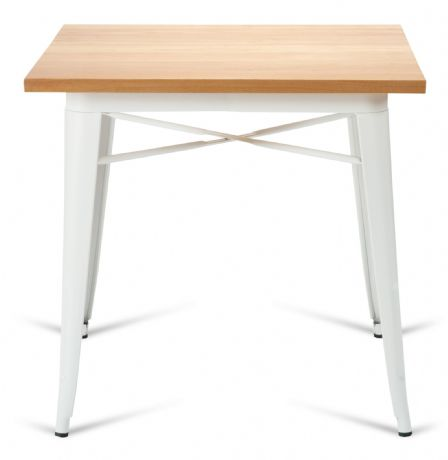 Tolix Style Square Metal Dining Table Matt White With Solid Oak Top 1/2 Price Deal